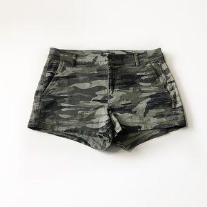 Express Midi Mid Rise Camouflage Shorts